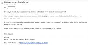 BeautyBayからの返事