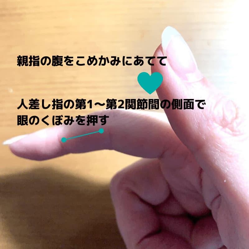 眉下と目の下の眼窩(がんか)のマッサージに使う人差し指と親指