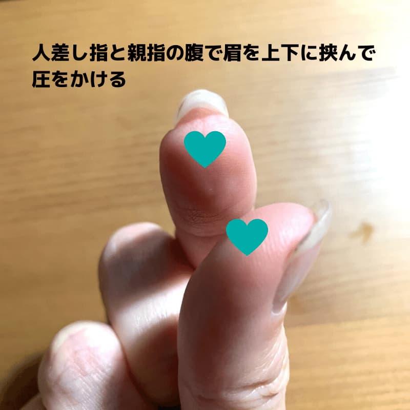 眉のマッサージに使うのは人差し指と親指の腹
