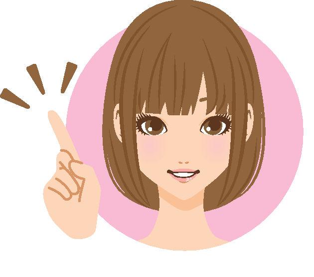 女性前髪人差し指笑顔