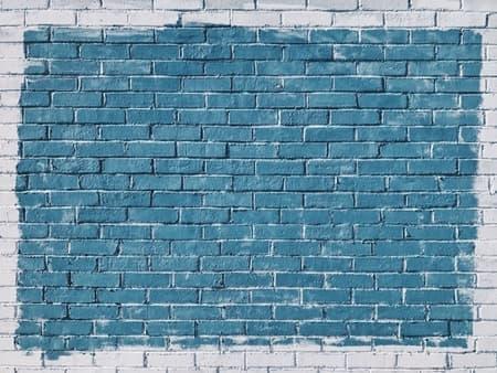 水色のブロック塀の画像